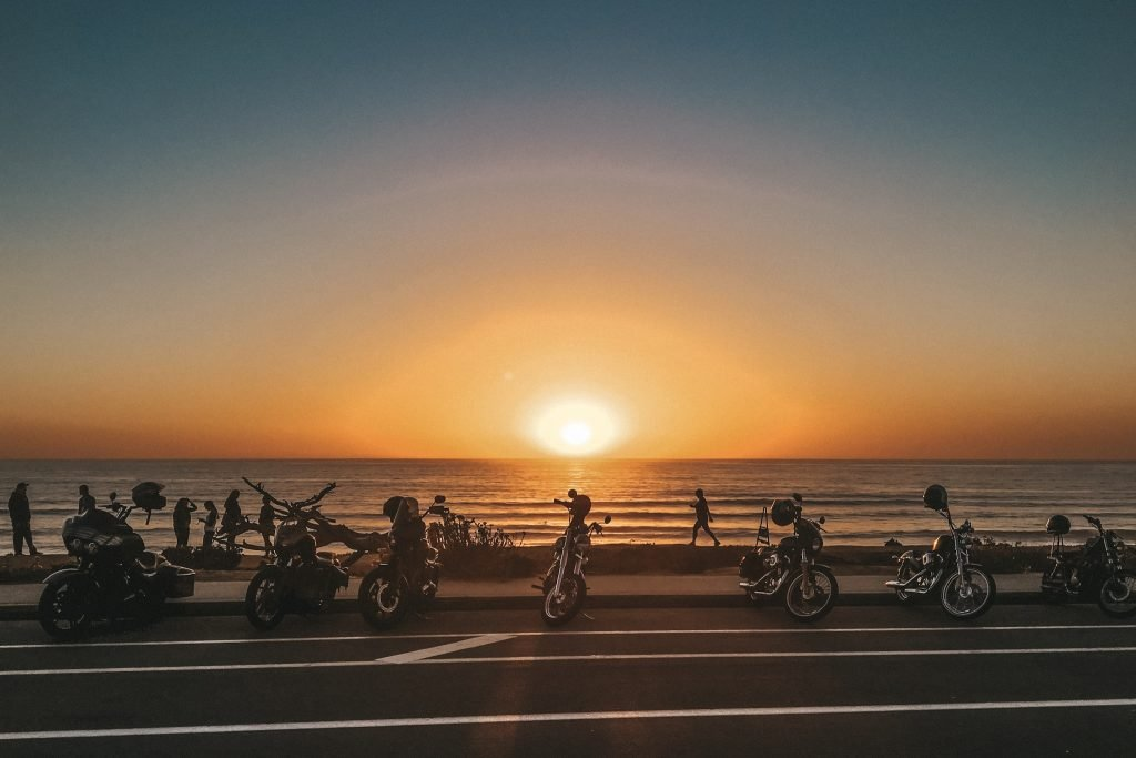 Motorcycles at the Beach at Sunset