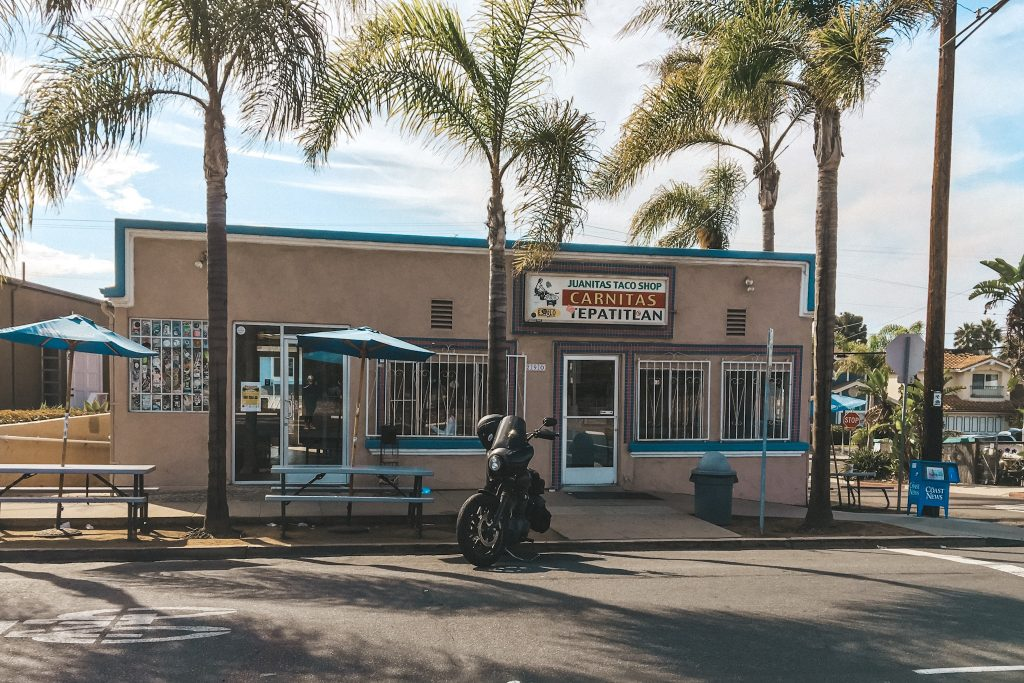 Motorcycle Sitting Out Front of Juanitas Taco Shop | Best Tacos in Encinitas