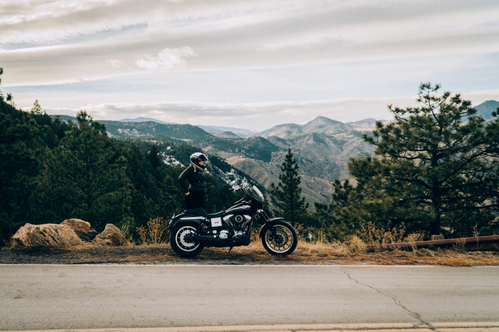 Motorcyclist on Lookout Mountain Golden Colorado