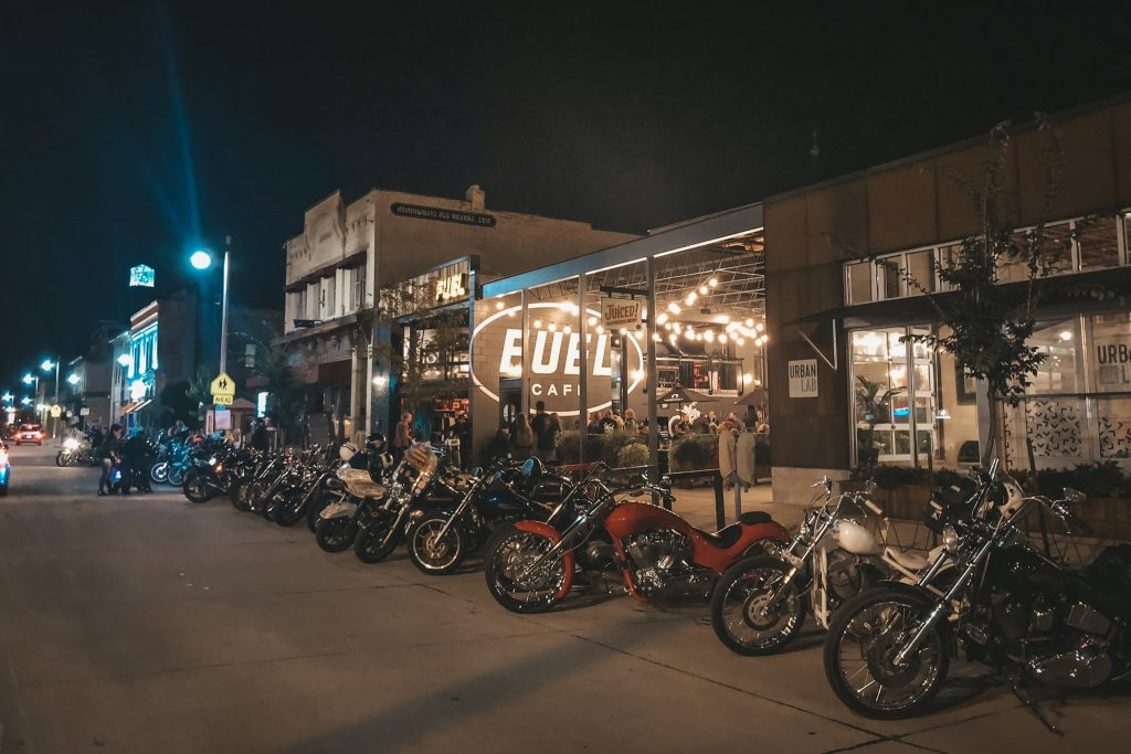 Bikes parked in front of Fuel Cafe