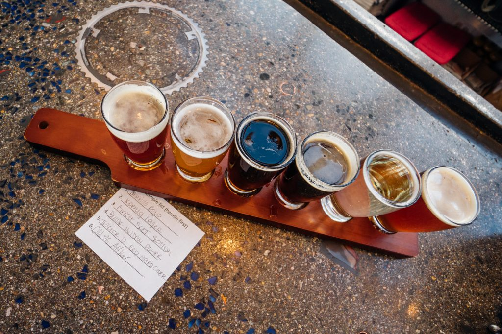 Flight of Beers at Taos Mesa Brewery
