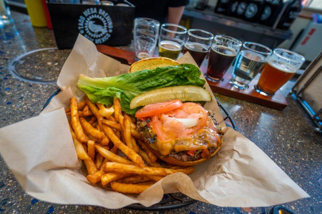 Conspiracy Burger at Taos Mesa Brewery