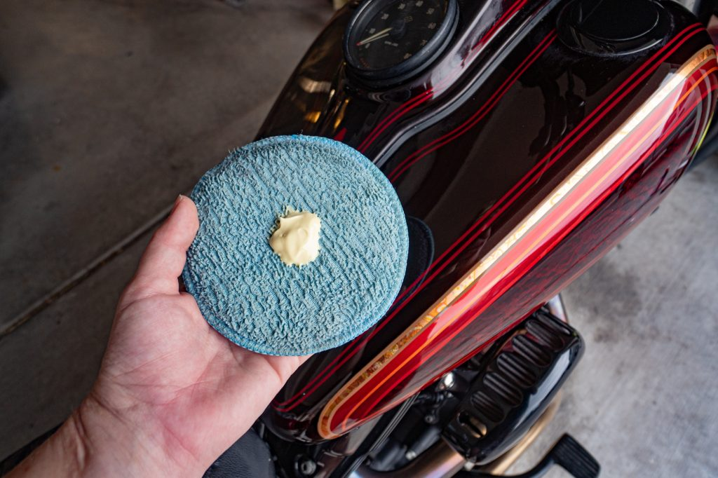 Small amount of Maguiars Carnauba Wax on microfiber applicator
