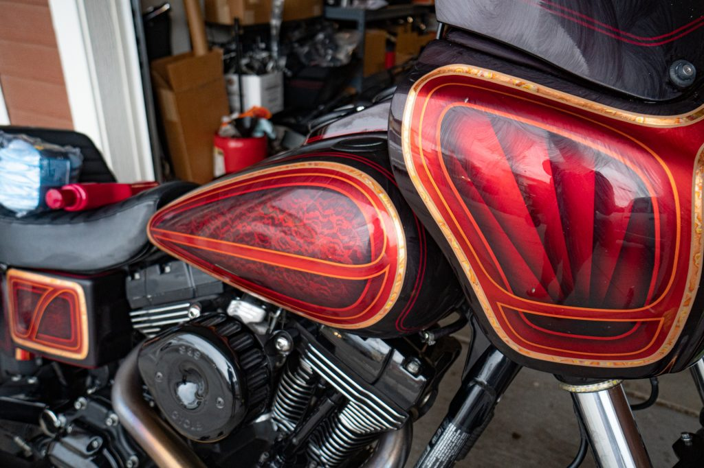 Motorcycle with Maguiars Carnauba Wax applied and waiting to dry before removing excess wax