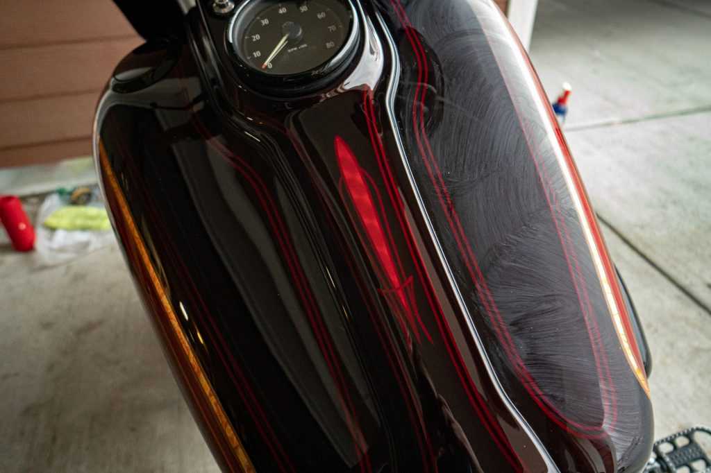 Motorcycle tank that has wax applied