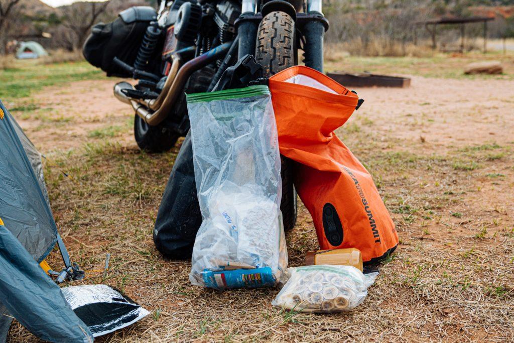 Motorcycle Camping Food Storage | Motorcycle Trip Packing List