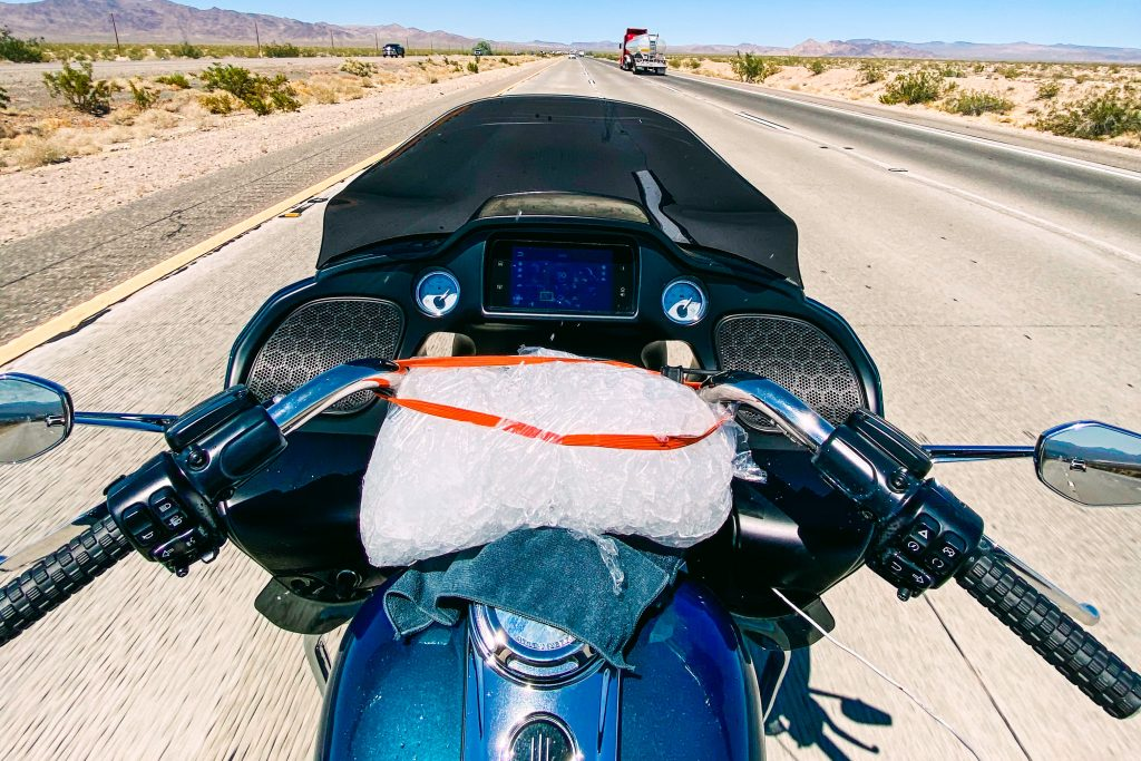 Bag of Ice on Motorcycle